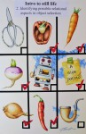 """""""Intro to still life 2. Identifying possible relational aspects in object selection"""" 15x22in. Mixed Media 2020"""